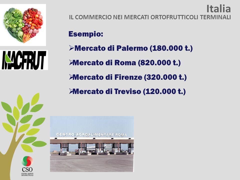 Italia IL COMMERCIO NEI MERCATI ORTOFRUTTICOLI TERMINALI Esempio: Mercato di Palermo (180.000 t.) Mercato di Roma (820.000 t.) Mercato di Firenze (320