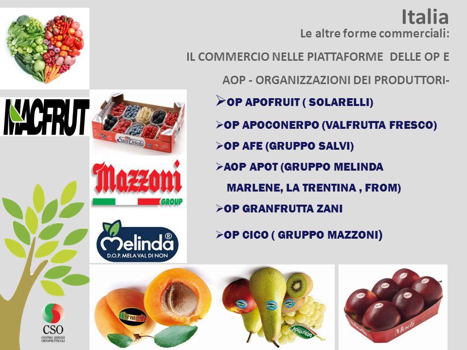 Italia Le altre forme commerciali: IL COMMERCIO NELLE PIATTAFORME DELLE OP E AOP - ORGANIZZAZIONI DEI PRODUTTORI- OP APOFRUIT ( SOLARELLI) OP APOCONER