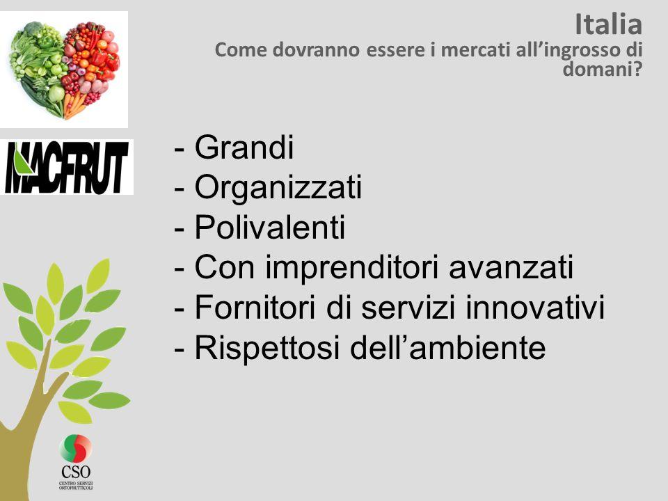 Italia Come dovranno essere i mercati allingrosso di domani? - Grandi - Organizzati - Polivalenti - Con imprenditori avanzati - Fornitori di servizi i