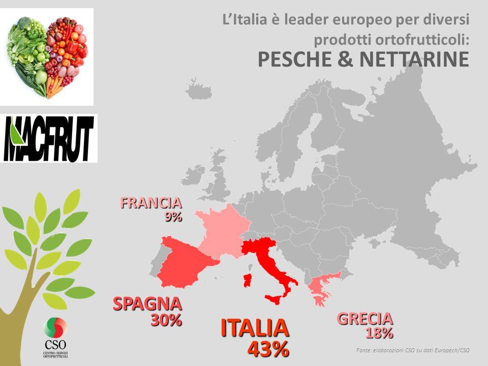 Fonte: elaborazioni CSO su dati Europech/CSO ITALIA 43% 43% SPAGNA 30% 30% GRECIA 18% 18% FRANCIA 9% 9% LItalia è leader europeo per diversi prodotti