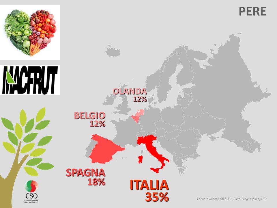 Italia LE ESPORTAZIONI DI FRUTTA Source: élaborations CSO sur la base de données EUROSTAT Le esportazioni italiane verso lEuropa sono stagnanti.