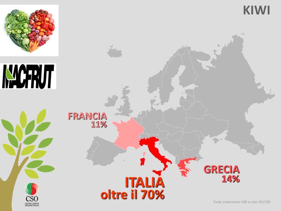 KIWI Fonte: elaborazioni CSO su dati IKO/CSO ITALIA oltre il 70% oltre il 70% GRECIA 14% 14% FRANCIA 11% 11%