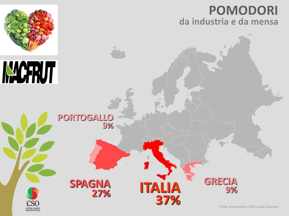 LATTUGHE Fonte: elaborazioni CSO su dati Eurostat SPAGNA 36% 36% ITALIA22% FRANCIA 14 %
