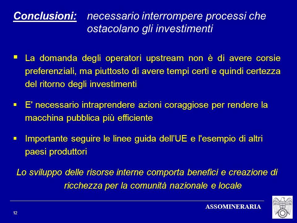 ASSOMINERARIA 12 Conclusioni:necessario interrompere processi che ostacolano gli investimenti La domanda degli operatori upstream non è di avere corsi