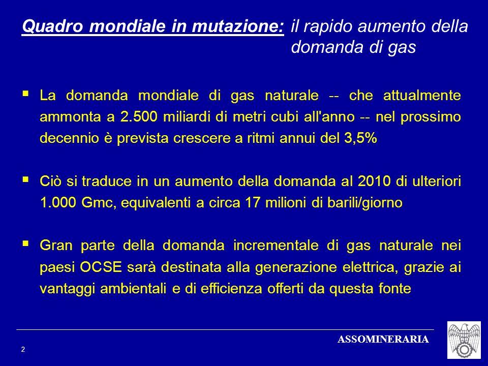 ASSOMINERARIA 2 Quadro mondiale in mutazione: il rapido aumento della domanda di gas La domanda mondiale di gas naturale -- che attualmente ammonta a