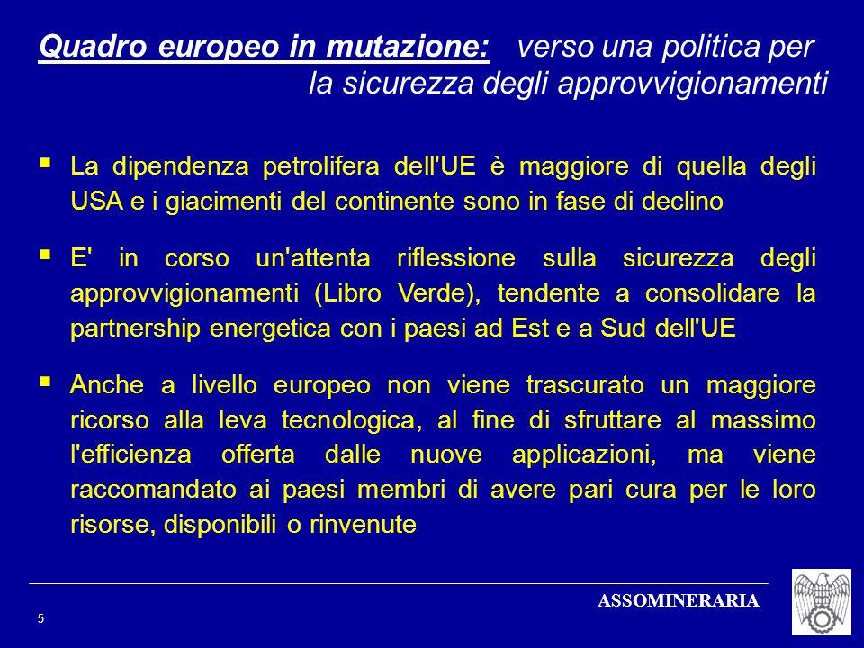 ASSOMINERARIA 5 Quadro europeo in mutazione: verso una politica per la sicurezza degli approvvigionamenti La dipendenza petrolifera dell'UE è maggiore