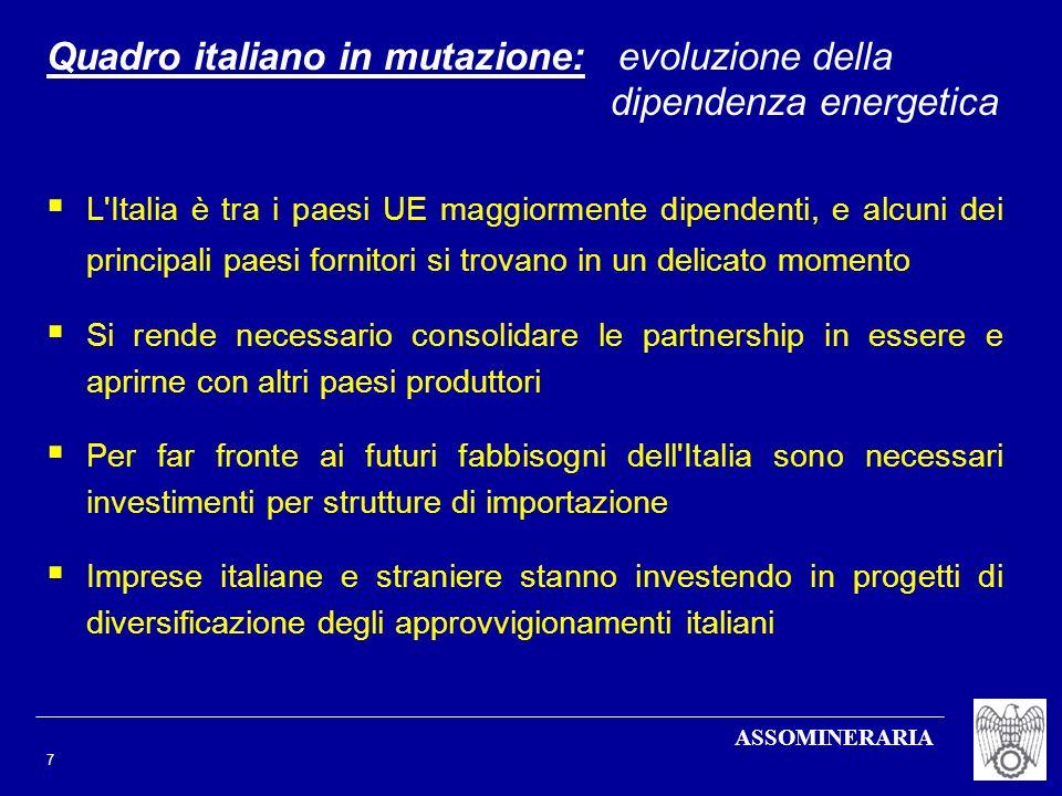 ASSOMINERARIA 7 L'Italia è tra i paesi UE maggiormente dipendenti, e alcuni dei principali paesi fornitori si trovano in un delicato momento Si rende