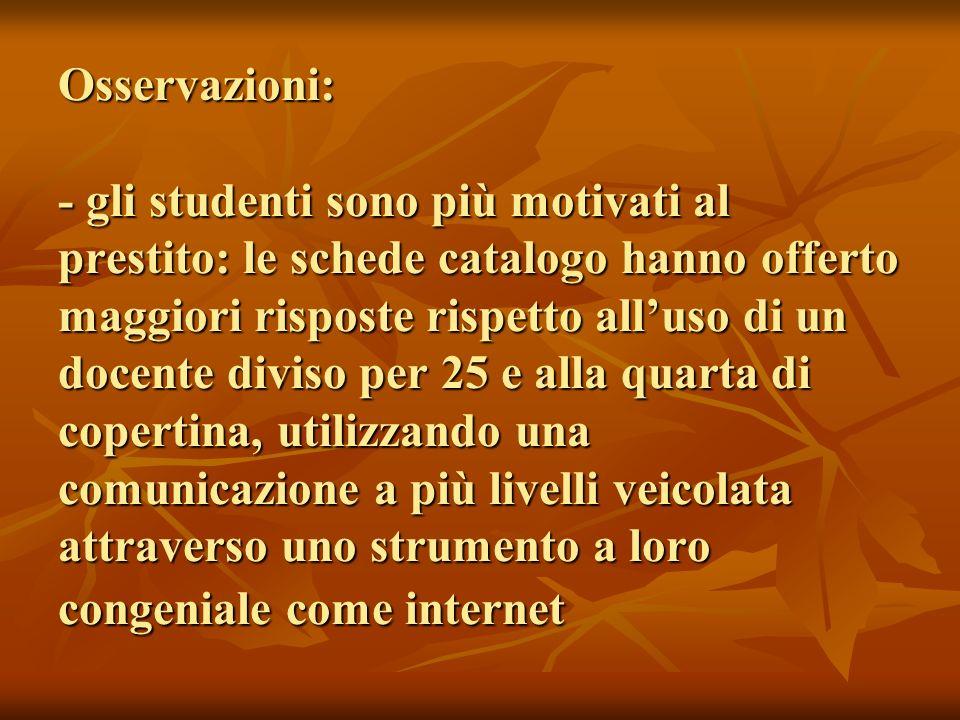 Osservazioni: - gli studenti sono più motivati al prestito: le schede catalogo hanno offerto maggiori risposte rispetto alluso di un docente diviso pe