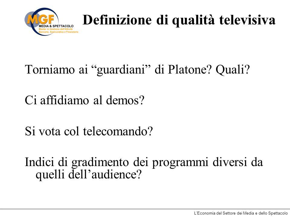 LEconomia del Settore dei Media e dello Spettacolo Definizione di qualità televisiva Torniamo ai guardiani di Platone? Quali? Ci affidiamo al demos? S