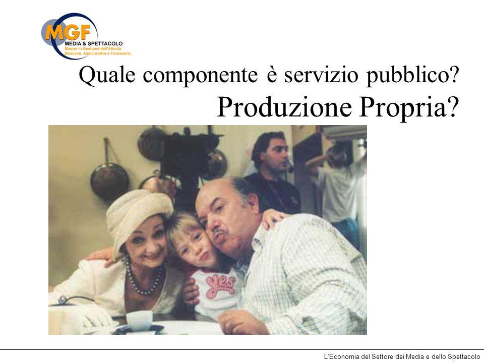 LEconomia del Settore dei Media e dello Spettacolo Quale componente è servizio pubblico? Produzione Propria?