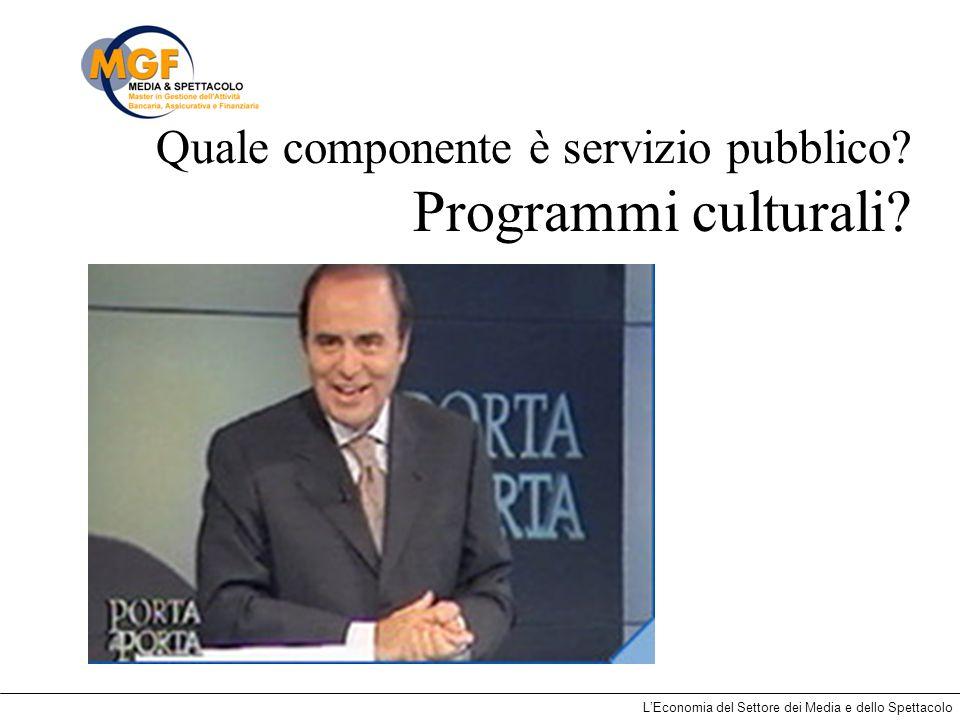 LEconomia del Settore dei Media e dello Spettacolo Quale componente è servizio pubblico? Programmi culturali?