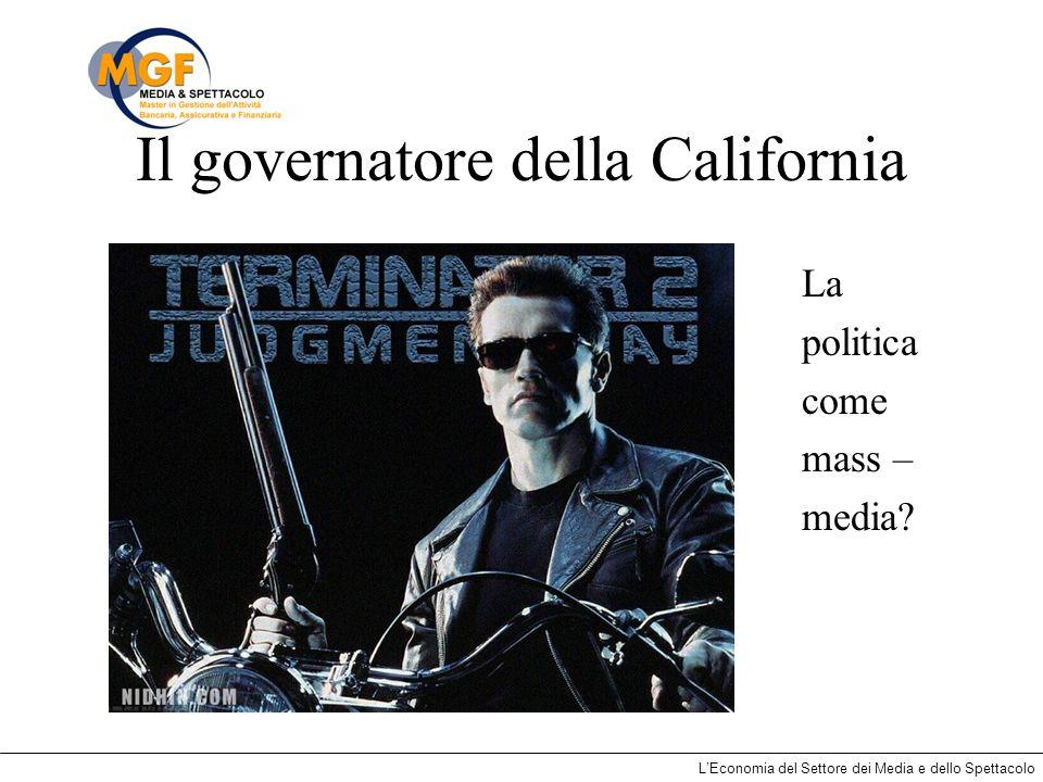 LEconomia del Settore dei Media e dello Spettacolo Il governatore della California La politica come mass – media?