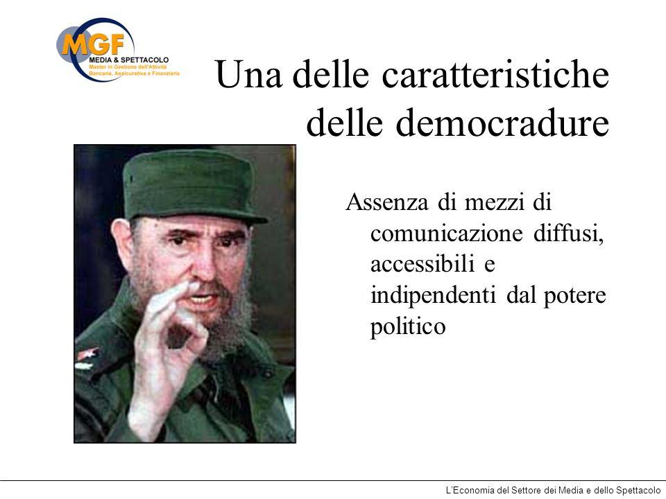 LEconomia del Settore dei Media e dello Spettacolo Una delle caratteristiche delle democradure Assenza di mezzi di comunicazione diffusi, accessibili