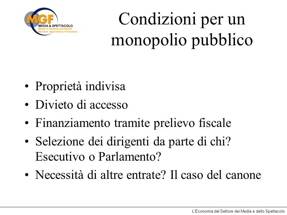 LEconomia del Settore dei Media e dello Spettacolo Condizioni per un monopolio pubblico Proprietà indivisa Divieto di accesso Finanziamento tramite pr