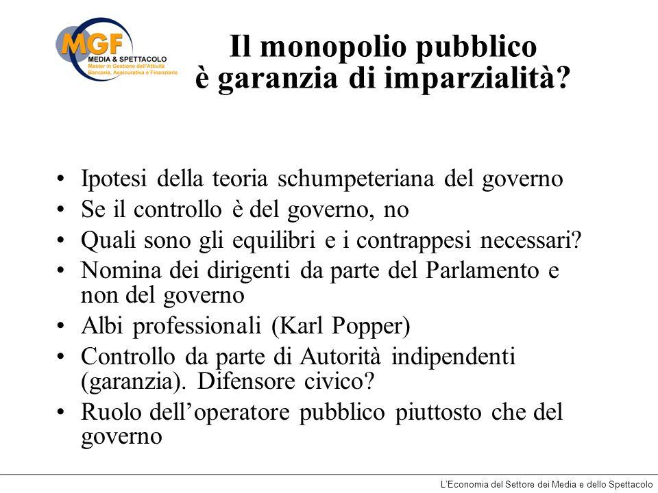 LEconomia del Settore dei Media e dello Spettacolo Il monopolio pubblico è garanzia di imparzialità? Ipotesi della teoria schumpeteriana del governo S