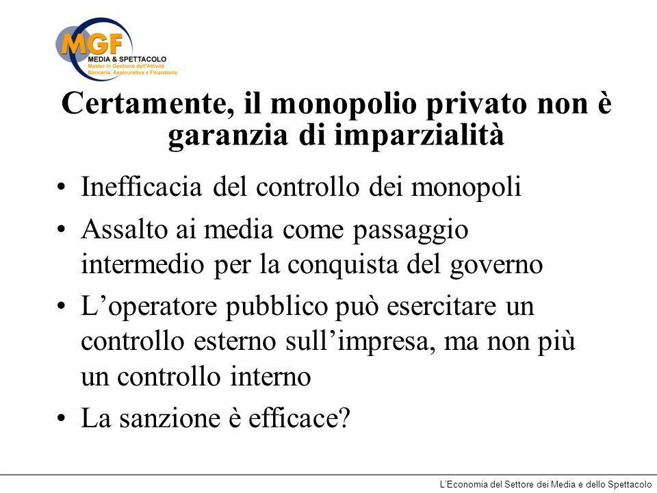 LEconomia del Settore dei Media e dello Spettacolo Certamente, il monopolio privato non è garanzia di imparzialità Inefficacia del controllo dei monop