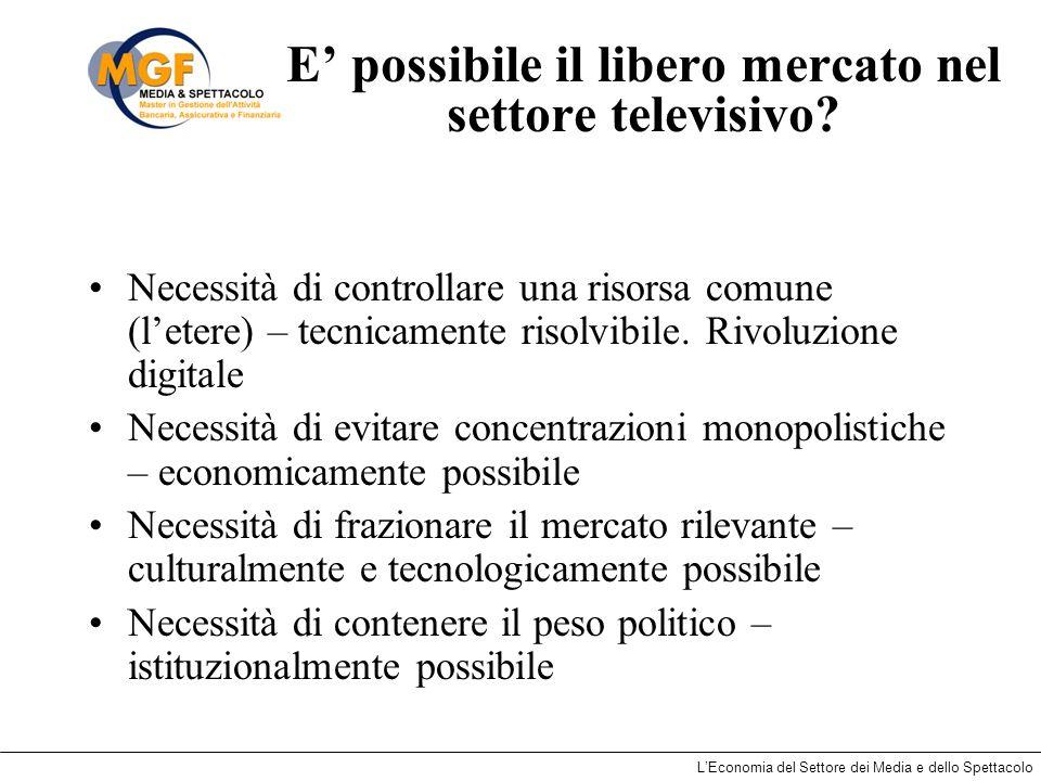 LEconomia del Settore dei Media e dello Spettacolo E possibile il libero mercato nel settore televisivo? Necessità di controllare una risorsa comune (