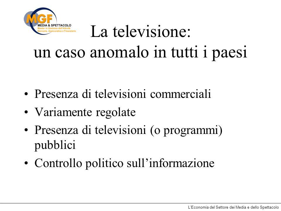LEconomia del Settore dei Media e dello Spettacolo La televisione: un caso anomalo in tutti i paesi Presenza di televisioni commerciali Variamente reg