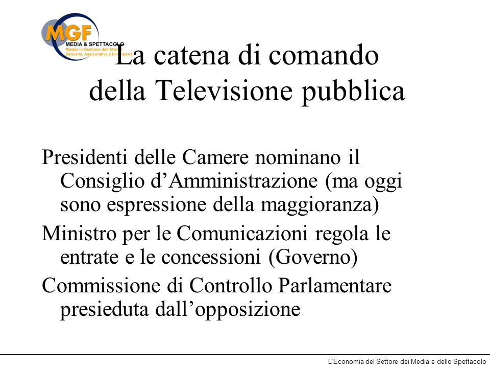 LEconomia del Settore dei Media e dello Spettacolo La catena di comando della Televisione pubblica Presidenti delle Camere nominano il Consiglio dAmmi