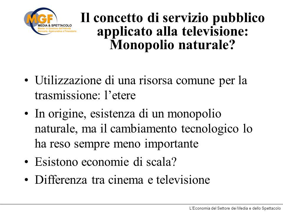 LEconomia del Settore dei Media e dello Spettacolo Il concetto di servizio pubblico applicato alla televisione: Monopolio naturale? Utilizzazione di u