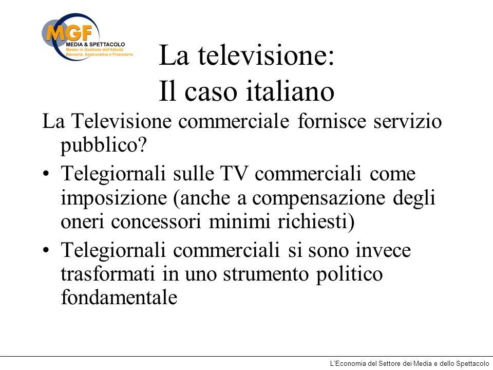 LEconomia del Settore dei Media e dello Spettacolo La televisione: Il caso italiano La Televisione commerciale fornisce servizio pubblico? Telegiornal