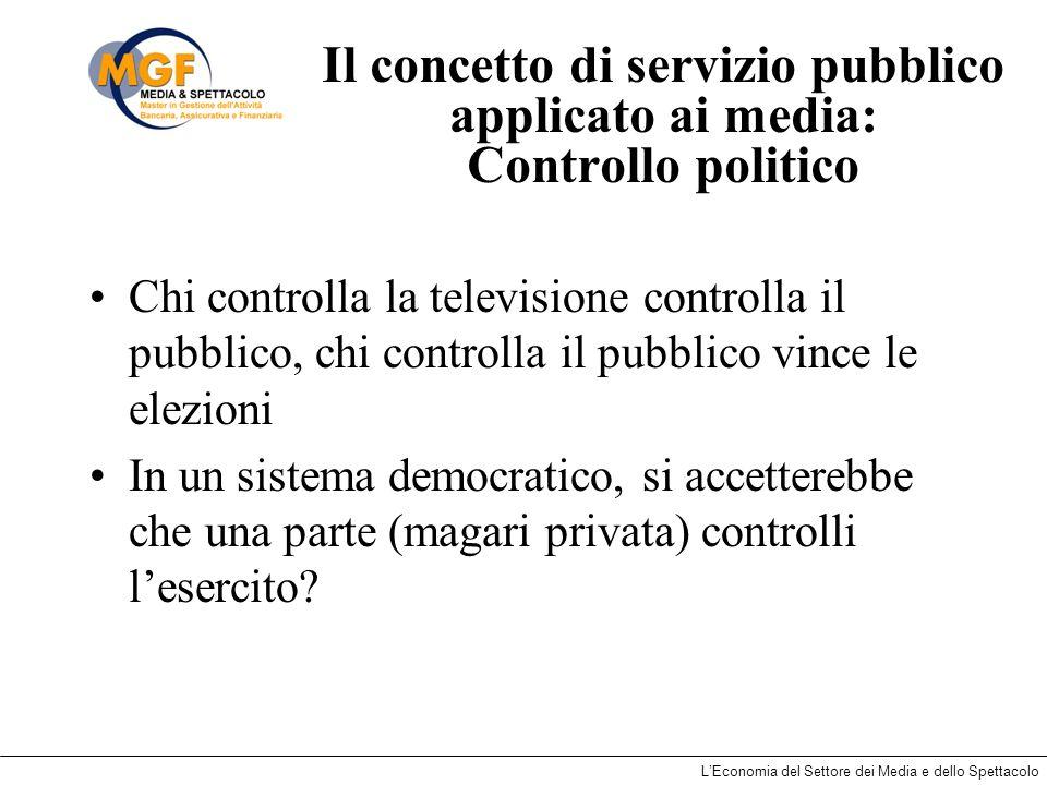 LEconomia del Settore dei Media e dello Spettacolo Il concetto di servizio pubblico applicato ai media: Controllo politico Chi controlla la television