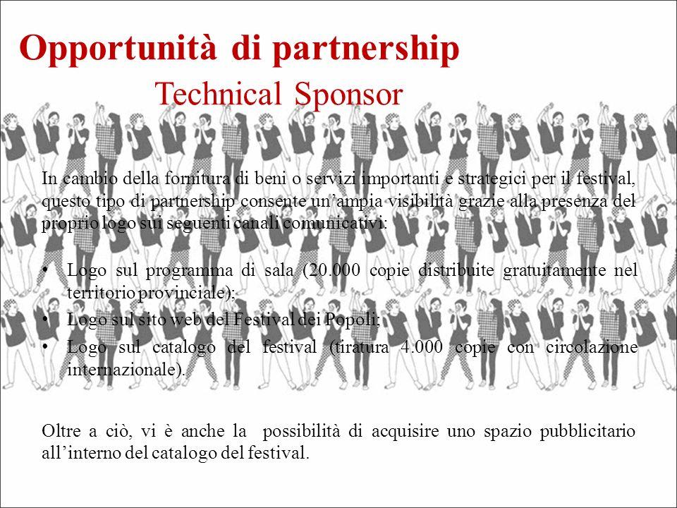 Logo sul programma di sala (20.000 copie distribuite gratuitamente nel territorio provinciale); Logo sul sito web del Festival dei Popoli; Logo sul catalogo del festival (tiratura 4.000 copie con circolazione internazionale).