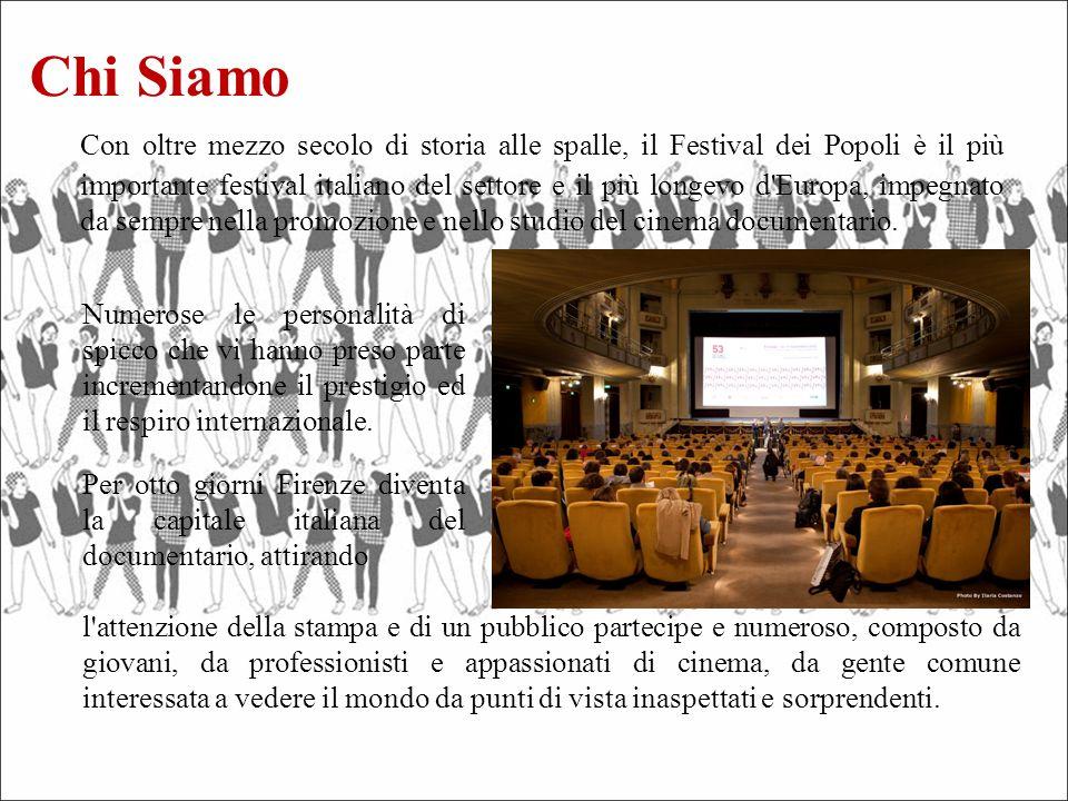 Con oltre mezzo secolo di storia alle spalle, il Festival dei Popoli è il più importante festival italiano del settore e il più longevo d Europa, impegnato da sempre nella promozione e nello studio del cinema documentario.