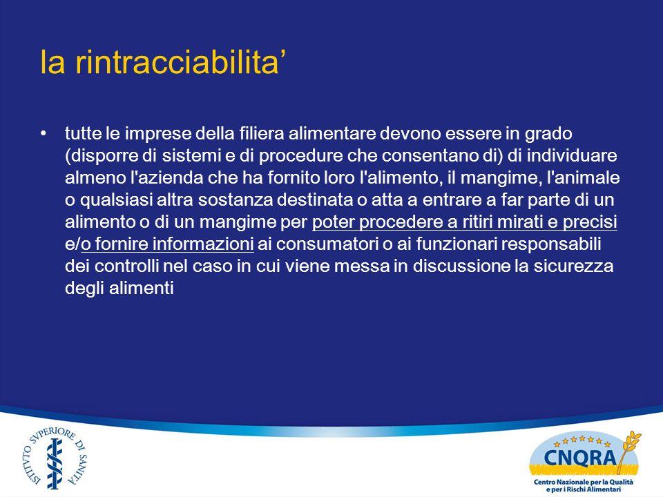 la rintracciabilita tutte le imprese della filiera alimentare devono essere in grado (disporre di sistemi e di procedure che consentano di) di individ