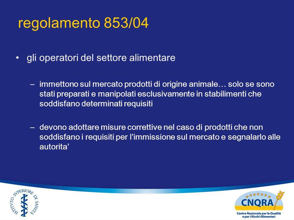 regolamento 853/04 gli operatori del settore alimentare –immettono sul mercato prodotti di origine animale… solo se sono stati preparati e manipolati