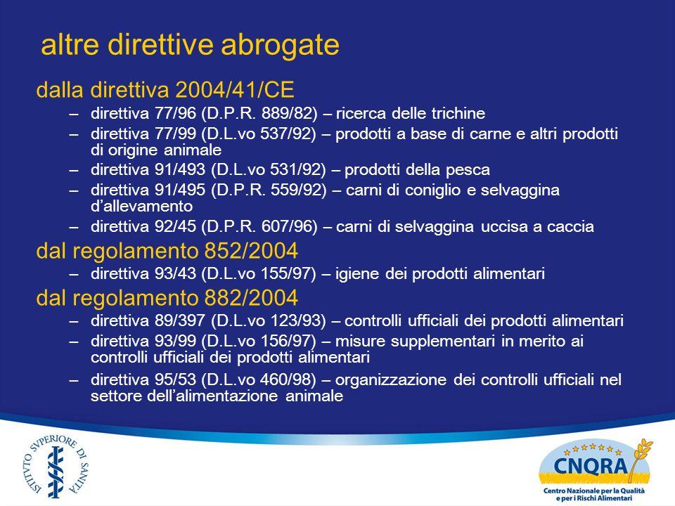 altre direttive abrogate dalla direttiva 2004/41/CE –direttiva 77/96 (D.P.R. 889/82) – ricerca delle trichine –direttiva 77/99 (D.L.vo 537/92) – prodo