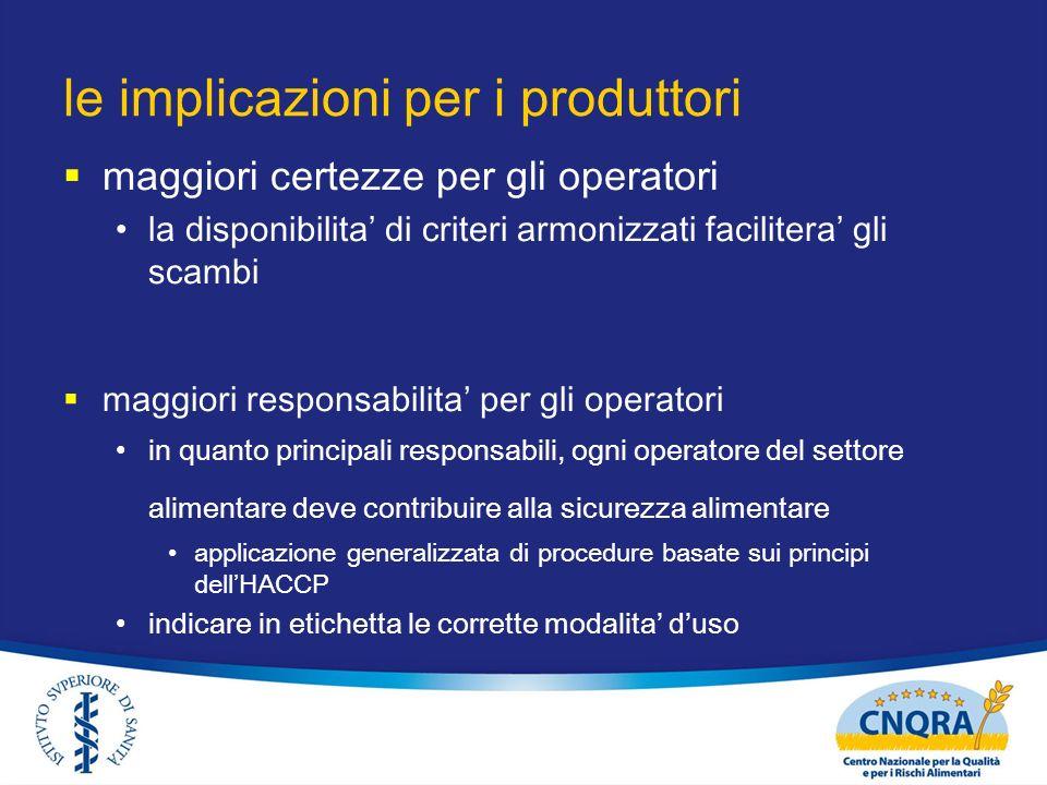 le implicazioni per i produttori maggiori certezze per gli operatori la disponibilita di criteri armonizzati facilitera gli scambi maggiori responsabi