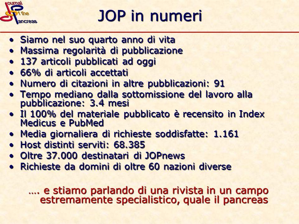 JOP in numeri Siamo nel suo quarto anno di vitaSiamo nel suo quarto anno di vita Massima regolarità di pubblicazioneMassima regolarità di pubblicazion