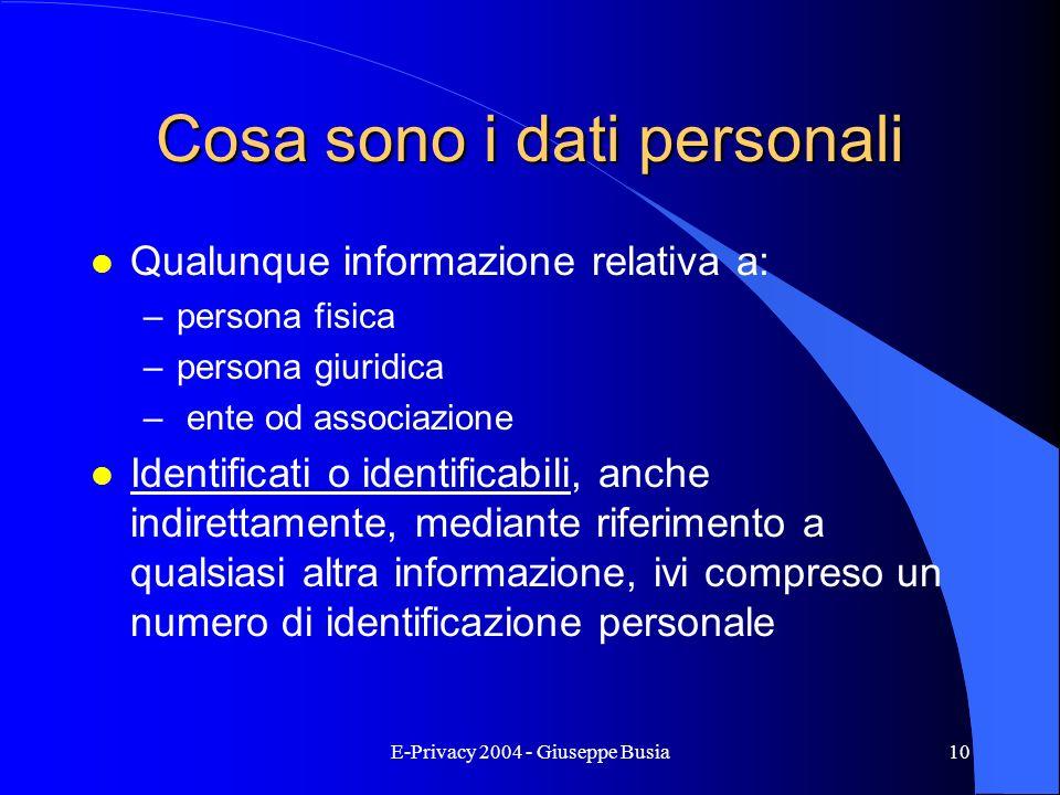 E-Privacy 2004 - Giuseppe Busia10 Cosa sono i dati personali l Qualunque informazione relativa a: –persona fisica –persona giuridica – ente od associa
