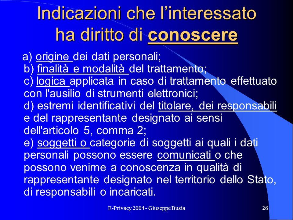 E-Privacy 2004 - Giuseppe Busia26 Indicazioni che linteressato ha diritto di conoscere a) origine dei dati personali; b) finalità e modalità del tratt