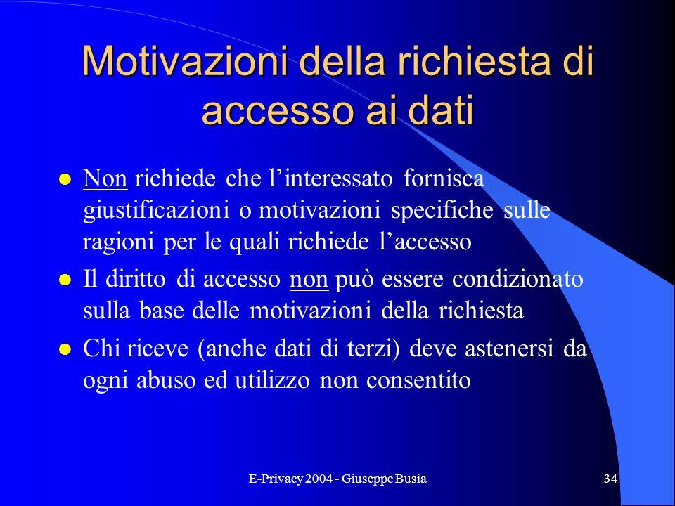E-Privacy 2004 - Giuseppe Busia34 Motivazioni della richiesta di accesso ai dati l Non richiede che linteressato fornisca giustificazioni o motivazion