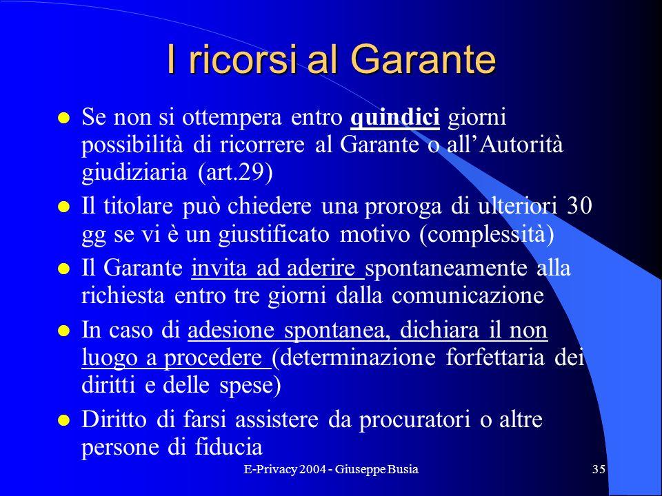 E-Privacy 2004 - Giuseppe Busia35 I ricorsi al Garante l Se non si ottempera entro quindici giorni possibilità di ricorrere al Garante o allAutorità g