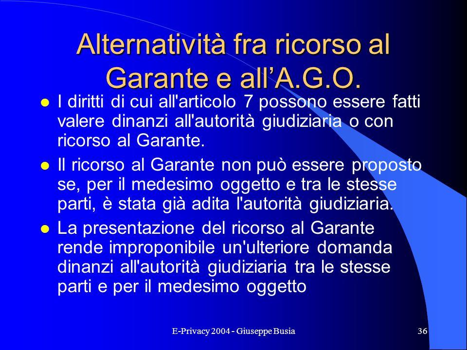 E-Privacy 2004 - Giuseppe Busia36 Alternatività fra ricorso al Garante e allA.G.O. l I diritti di cui all'articolo 7 possono essere fatti valere dinan