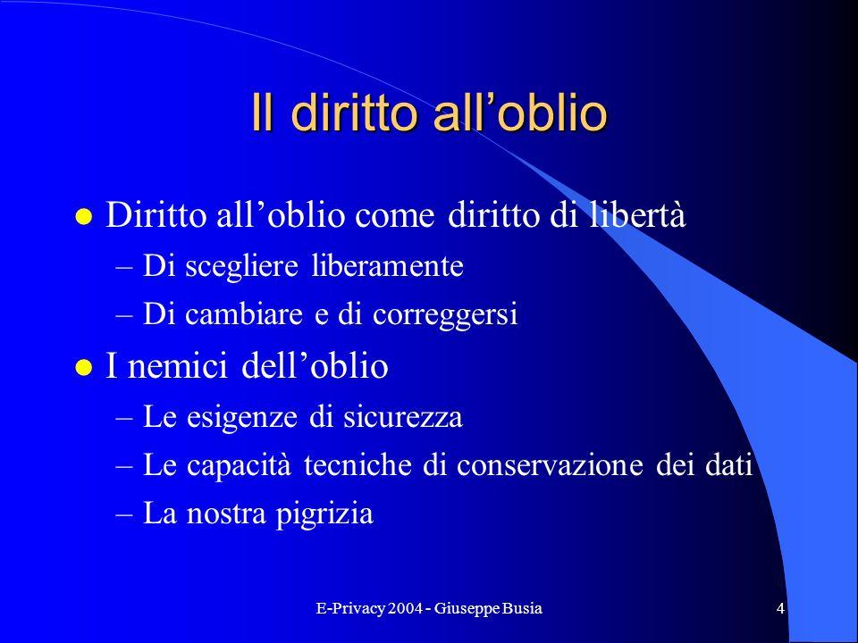 E-Privacy 2004 - Giuseppe Busia4 Il diritto alloblio l Diritto alloblio come diritto di libertà –Di scegliere liberamente –Di cambiare e di correggers