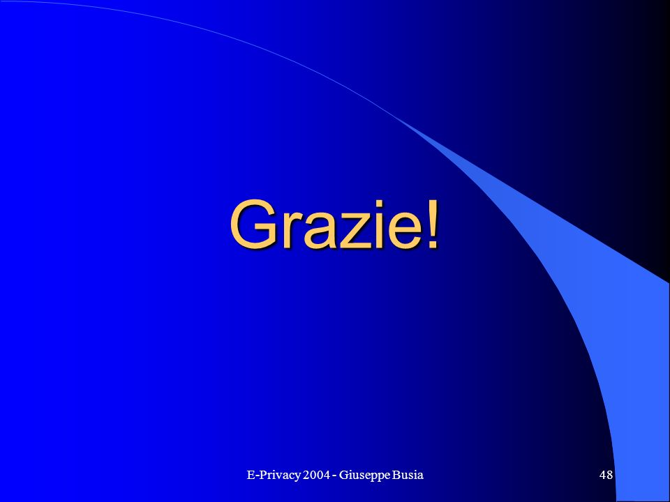 E-Privacy 2004 - Giuseppe Busia48 Grazie!