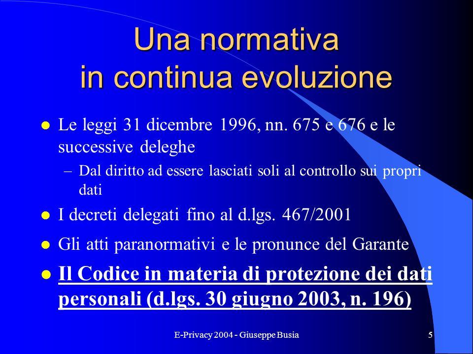E-Privacy 2004 - Giuseppe Busia5 Una normativa in continua evoluzione l Le leggi 31 dicembre 1996, nn. 675 e 676 e le successive deleghe –Dal diritto