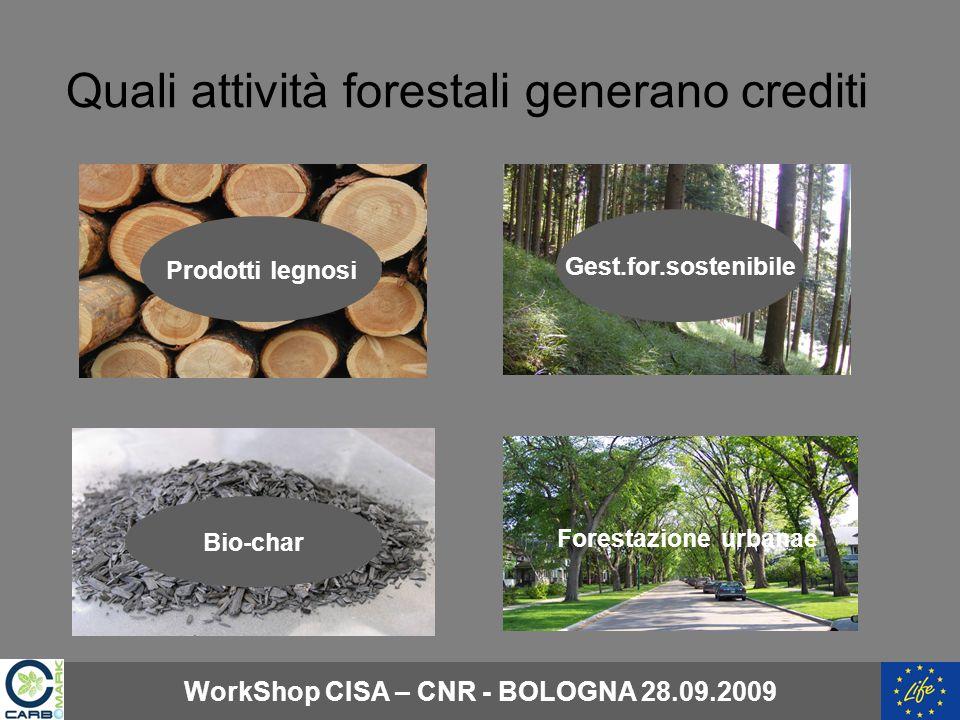 Quali attività forestali generano crediti Prodotti legnosi Gest.for.sostenibile Bio-char Forestazione urbanae WorkShop CISA – CNR - BOLOGNA 28.09.2009