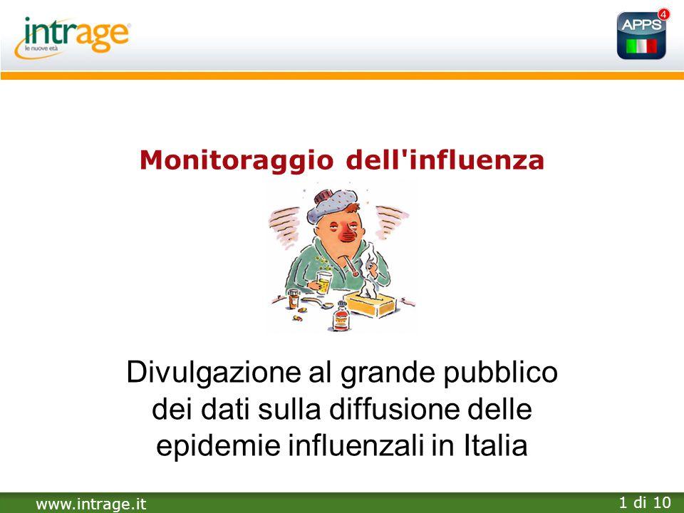 www.intrage.it 1 di 10 Monitoraggio dell'influenza Divulgazione al grande pubblico dei dati sulla diffusione delle epidemie influenzali in Italia