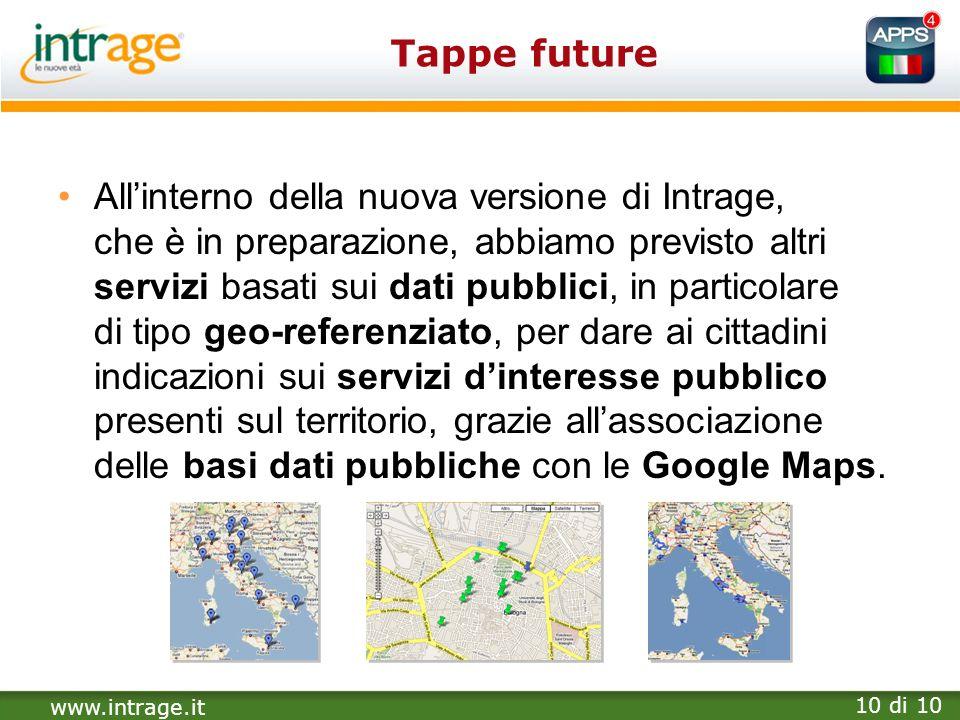 www.intrage.it 10 di 10 Tappe future Allinterno della nuova versione di Intrage, che è in preparazione, abbiamo previsto altri servizi basati sui dati