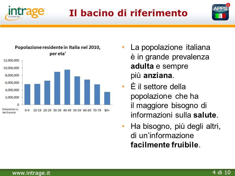 www.intrage.it 4 di 10 Il bacino di riferimento La popolazione italiana è in grande prevalenza adulta e sempre più anziana. È il settore della popolaz