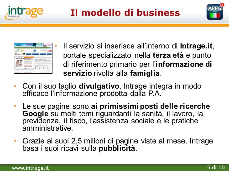 www.intrage.it 5 di 10 Il modello di business Il servizio si inserisce allinterno di Intrage.it, portale specializzato nella terza età e punto di rife