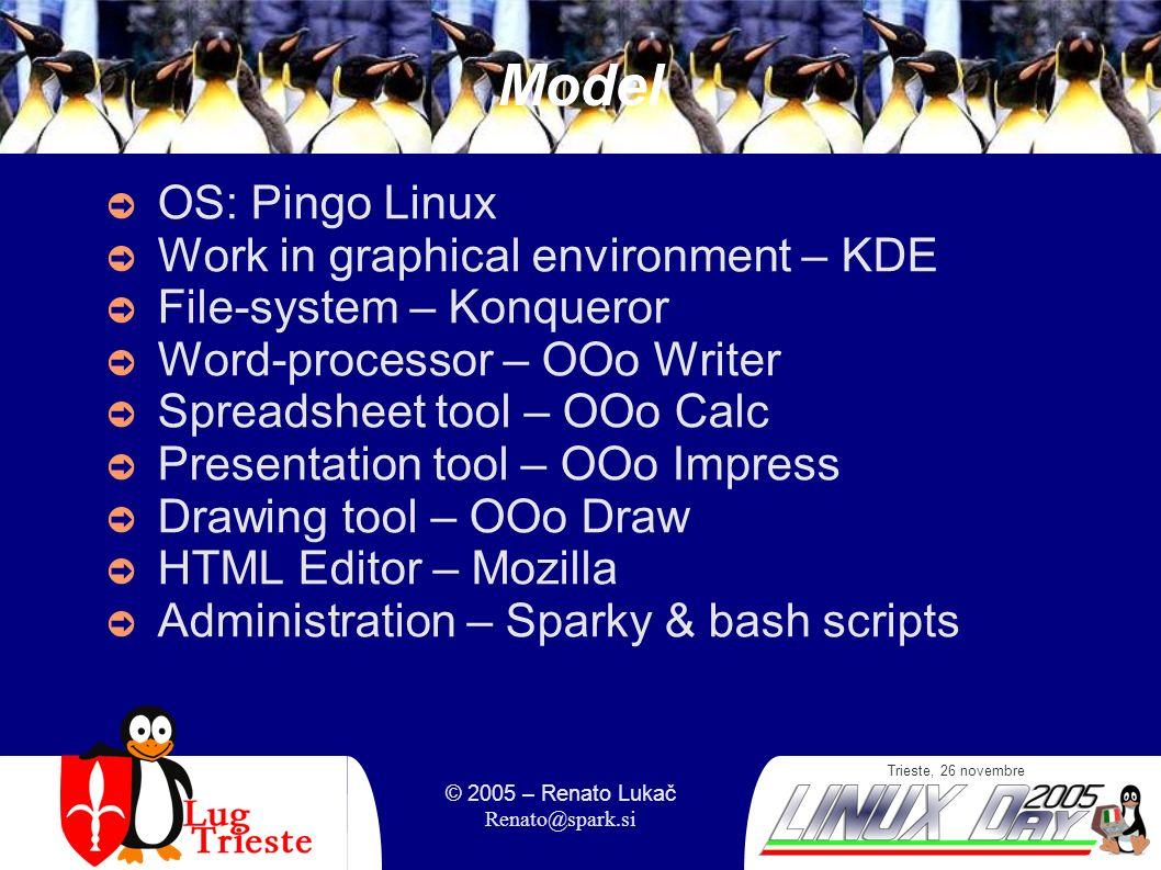 Trieste, 26 novembre © 2005 – Renato Lukač Renato@spark.si Web manuals Project S pingvini skozi informatiko Results: web-based and PDF manuals Access from home Snapshots: Index of topics + examples