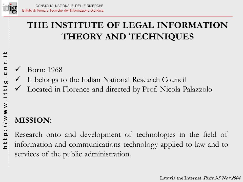 CONSIGLIO NAZIONALE DELLE RICERCHE Istituto di Teoria e Tecniche dellInformazione Giuridica h t t p : / / w w w. i t t i g. c n r. i t Born: 1968 It b