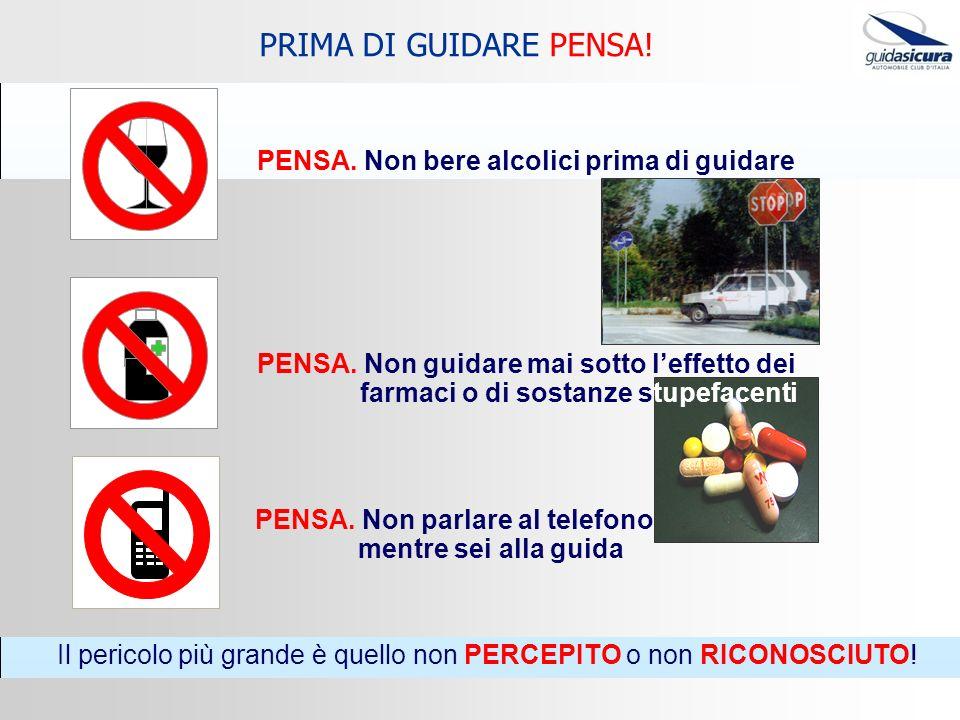 PENSA. Non bere alcolici prima di guidare PENSA. Non guidare mai sotto leffetto dei farmaci o di sostanze stupefacenti PRIMA DI GUIDARE PENSA! PENSA.