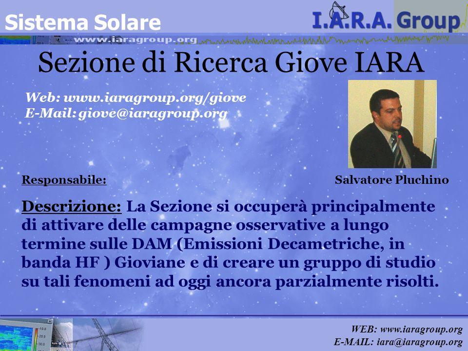WEB: www.iaragroup.org E-MAIL: iara@iaragroup.org Sezione di Ricerca Giove IARA Responsabile: Salvatore Pluchino Web: www.iaragroup.org/giove E-Mail: